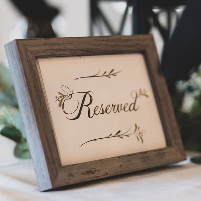 Reserved sign closeup