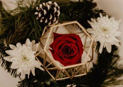 Ludlow Mansion rose winter wreath table decor
