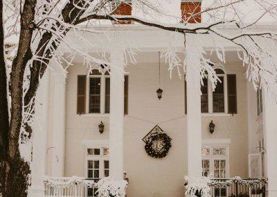 Ludlow Mansion quiet winter front porch