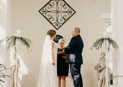 bride groom front steps altar